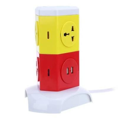 ALARDOR ALD - 2W4K - L MULTICOLOR 180 DEGREE ROTATING SOCKET INTELLIGENT VERTICAL SURGE PROTECTION POWER STRIP (COLORFUL)