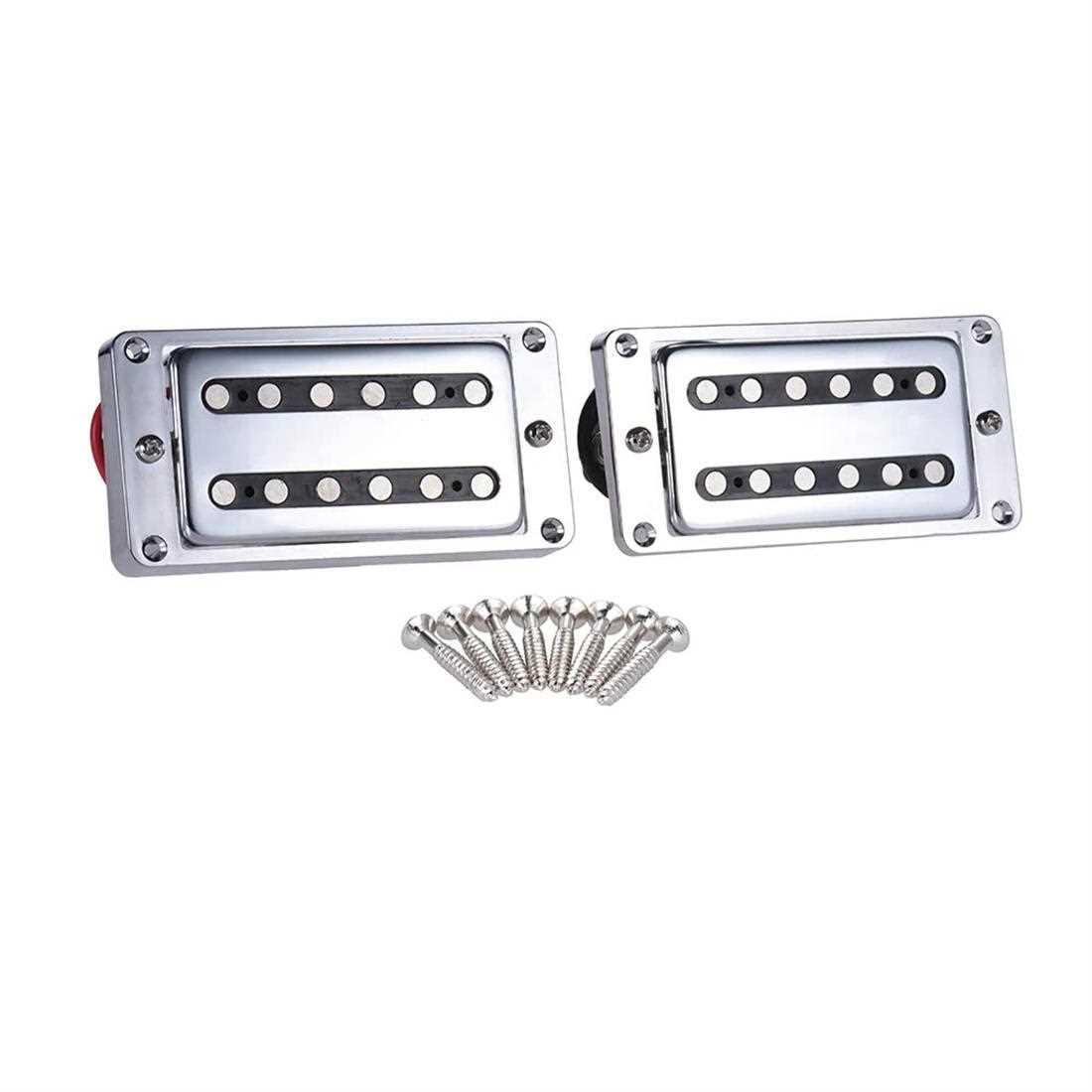 [ MANHATTAN ] 2pcs/set Guitar Sealed Humbucker Pickups Pick-ups Dual Coil for LP Electric Guitars with Mounting Screws (Silver) Malaysia