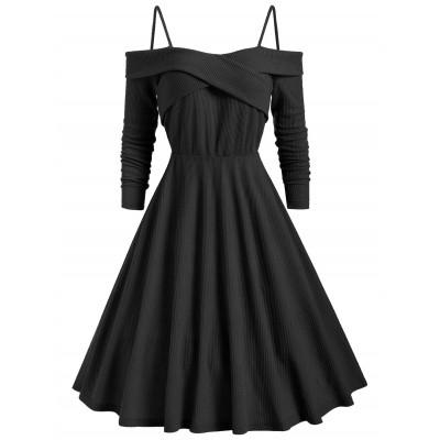 Cold Shoulder Crisscross Knitted Dress (BLACK)