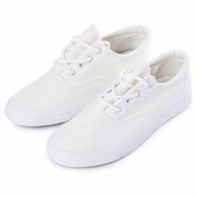 DY CANVAS LACE-UP DESIGN CASUAL VULCANIZED SKATE SHOES FOR WOMEN (WHITE)