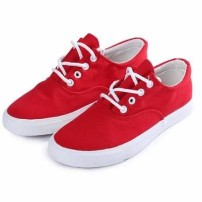 DY CANVAS LACE-UP DESIGN CASUAL VULCANIZED SKATE SHOES FOR WOMEN (RED)