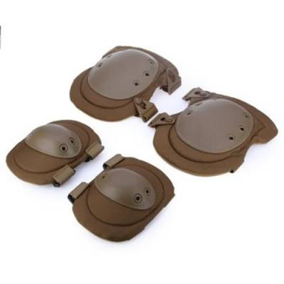 4PCS TACTICAL ELBOW KNEE PROTECTIVE GEAR SAFETY PAD SAFEGUARD FOR OUTDOOR SPORTS (KHAKI)