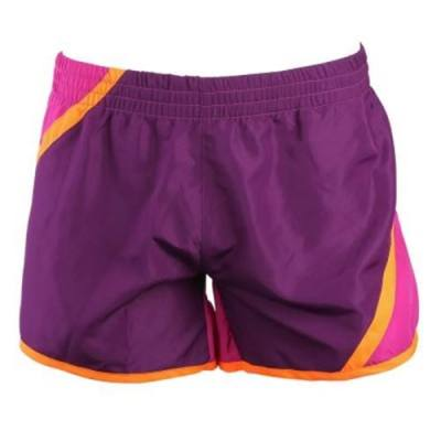 POLYESTER LOOSE HIGH WAIST SPORT SHORTS FOR FEMALE (PINK AND PURPLE)