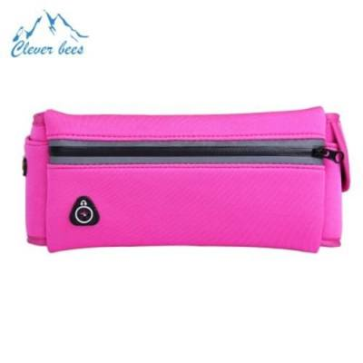 CLEVERBEES UNISEX WATER RESISTANT RUNNING CYCLING WAIST PACK BELT BAG MOBILE PHONE POUCH (PINK)