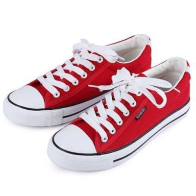 PAIRED WOMEN BREATHABLE CLASSIC CANVAS SHOES LOW-TOP SKATEBOARDING SNEAKERS (RED)