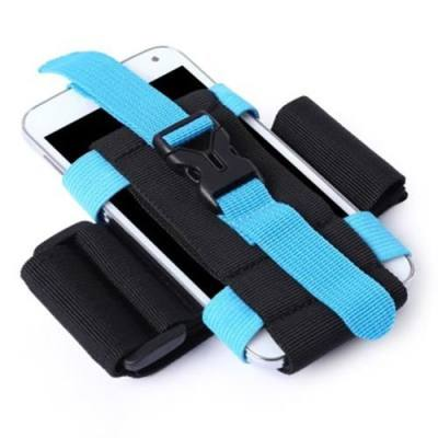 OUTDOOR RUNNING CAMPING HIKING ADJUSTABLE ARM POUCH FOR 2.5 - 5.5 INCHES PHONE (BLUE)