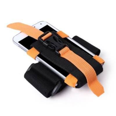 OUTDOOR RUNNING CAMPING HIKING ADJUSTABLE ARM POUCH FOR 2.5 - 5.5 INCHES PHONE (ORANGE)