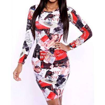 SEXY ROUND NECK LONG SLEEVE SKINNY PRINTED STRETCHY WOMEN'S DRESS