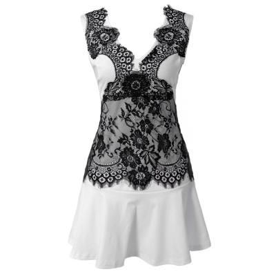 Stylish V-Neck Sleeveless Lace Embellished Women's Dress