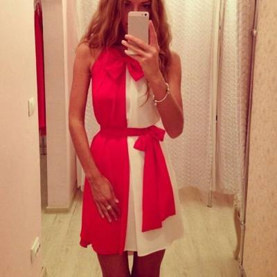 CUTE ROUND NECK SLEEVELESS COLOR BLOCK BOWKNOT EMBELLISHED WOMEN'S DRESS