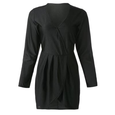 CHIC  V-NECK LONG SLEEVE ASYMMETRICAL WOMEN'S DRESS