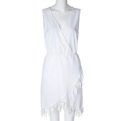 SEXY V-NECK SLEEVELESS FRINGE WHITE DRESS FOR WOMEN