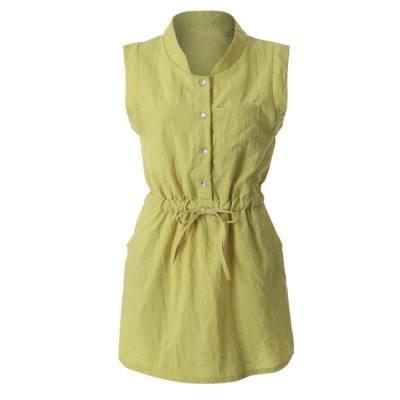 Half Button Belted Shirt Dress