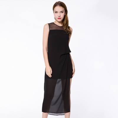 ELEGANT ROUND COLLAR SLEEVELESS SPLICED FAUX TWO PIECE PURE COLOR WOMEN'S SPLIT DRESS