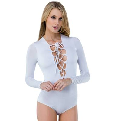 Sexy V-Neck Long Sleeve Criss Cross Pure Color Romper for Women
