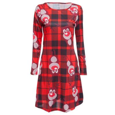 CHIC ROUND COLLAR LONG SLEEVE DEER PRINT A-LINE LADIES CHRISTMAS SWING DRESS