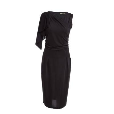 STYLISH ROUND COLLAR SLEEVELESS PLEAT DESIGN SLIM DRESS