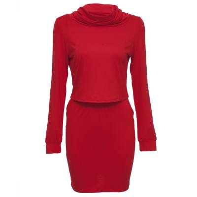 TURTLENECK LONG SLEEVE BLOUSE + PURE COLOR BODYCON SKIRT TWO PIECE DRESS FOR WOMEN