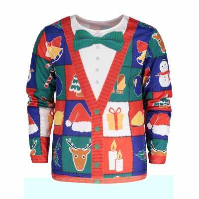 Christmas Tree Santa Print Long Sleeve T-shirt (Colormix)