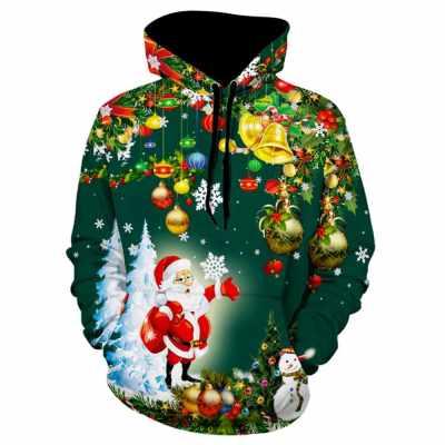 Christmas Tree Santa Jingle Bells Christmas Hoodie (Dark Forest Green)