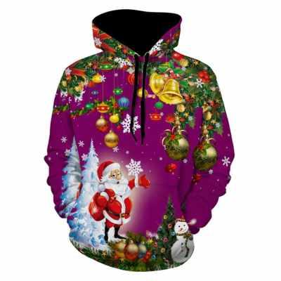 Christmas Tree Santa Jingle Bells Christmas Hoodie (Dark Orchid)