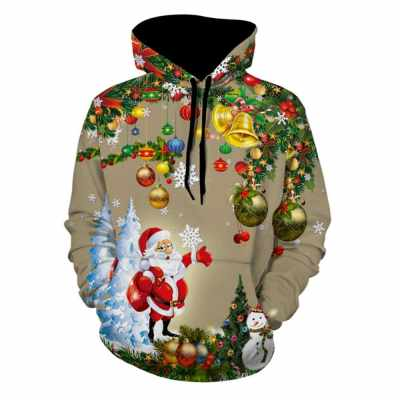 Christmas Tree Santa Jingle Bells Christmas Hoodie (Light Khaki)
