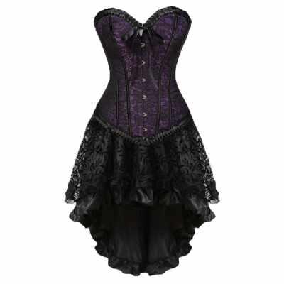 Plus Size Lace-up Two Piece Corset Dress (Purple)
