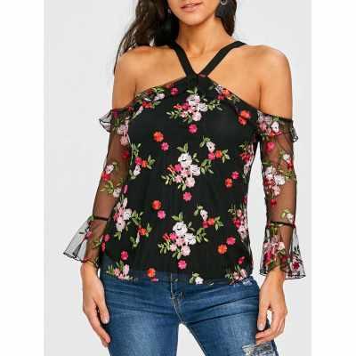 Mesh Off the Shoulder Floral Print Blouse (Colormix)