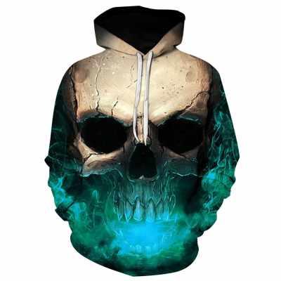 3D Effect Skull Print Pullover Hoodie (Medium Turquoise)