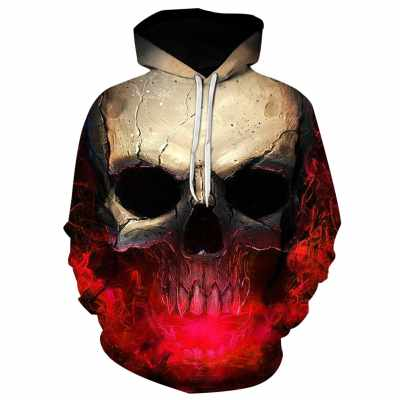 3D Effect Skull Print Pullover Hoodie (Red)