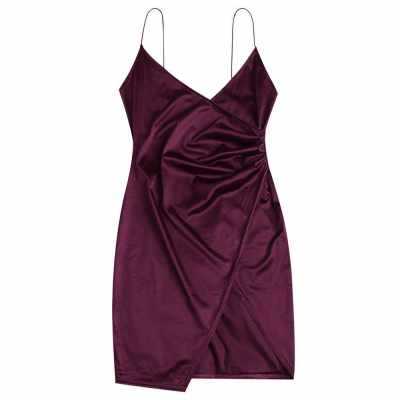 Cami Draped Crossover Slip Dress (Plum Velvet)
