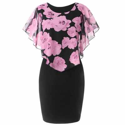 Women Summer Rose Printing Overlay Capelet Slim Sleeveless Dress (Pink)