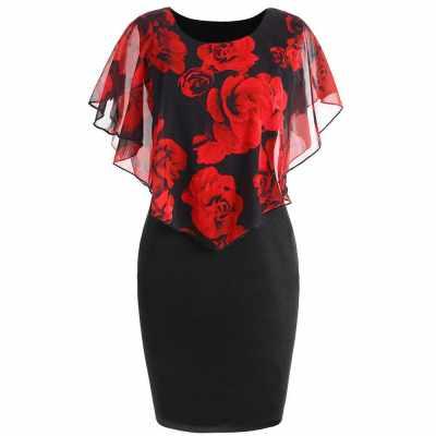 Women Summer Rose Printing Overlay Capelet Slim Sleeveless Dress (Red)