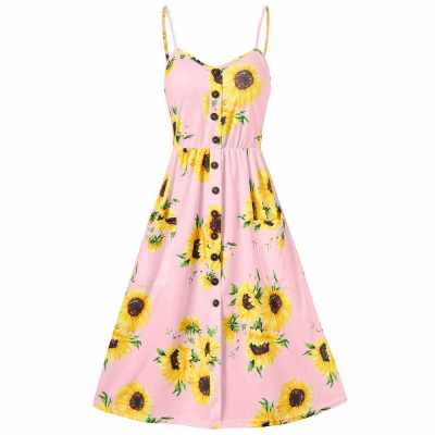 Spaghetti Strap Mini Dress Sunflower Print (Sakura Pink)