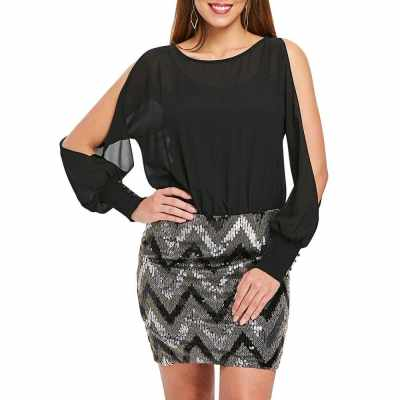 Long Sleeve Short Sequined Panel Dress (Black)