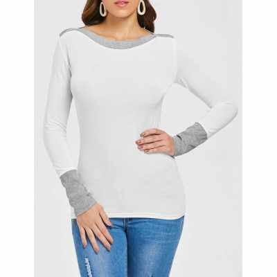 Two Tone Long Sleeve Top (White)