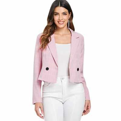 Notch Lapel Long Sleeve Plaid Print Button Women Short Suit (Light Pink)