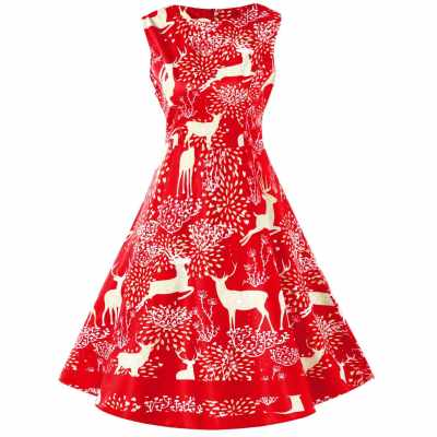 Vintage Christmas Elk Print Pin Up Dress (Rosso Red)