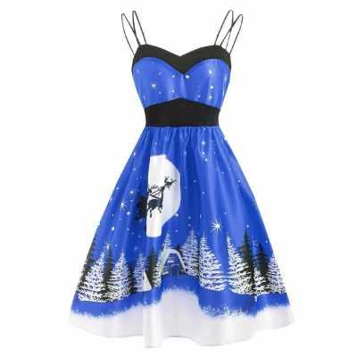 Vintage Christmas Printed Cami Dress (Blue)
