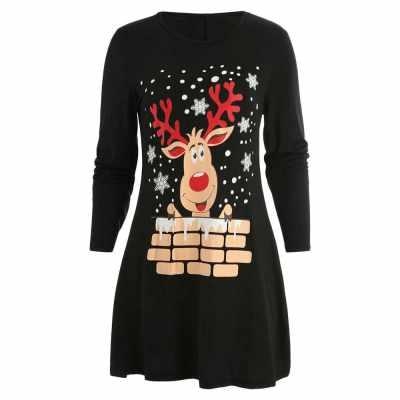 Christmas Elk Print Mini Tee Dress (Black)