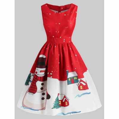 Christmas Snowman Print Sleeveless Dress (Red)