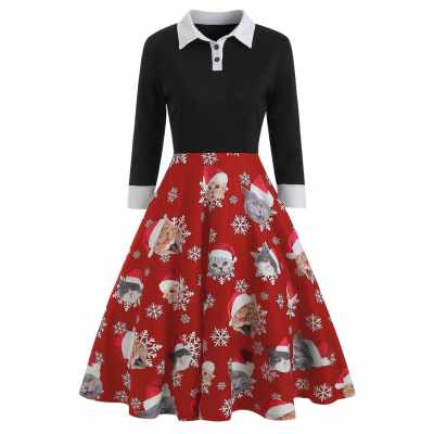 Christmas Cat Pattern Turn Down Collar Dress (Lava Red)