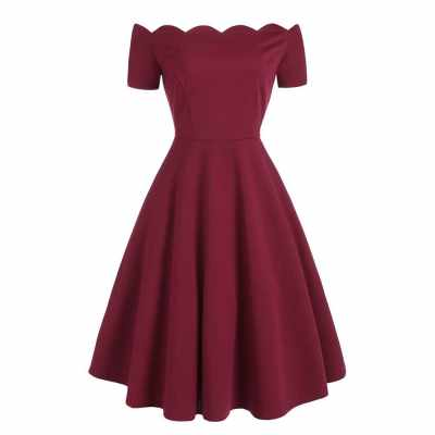 Scalloped Off The Shoulder Flare Dress (Red Wine)