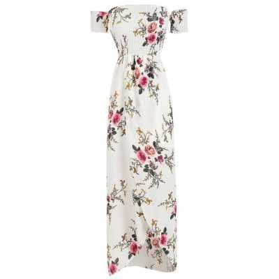 Off The Shoulder Floral Print Overlap Dress (White)
