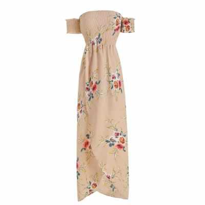 Off The Shoulder Floral Print Overlap Dress (Apricot)