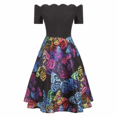 Scalloped Butterfly Print Flare Dress (Multi)
