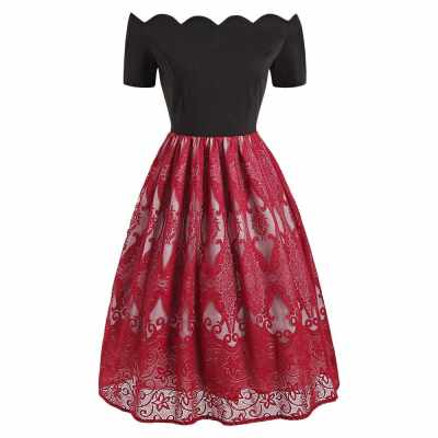 Scalloped Lace Insert Short Sleeve Vintage Dress (Red)