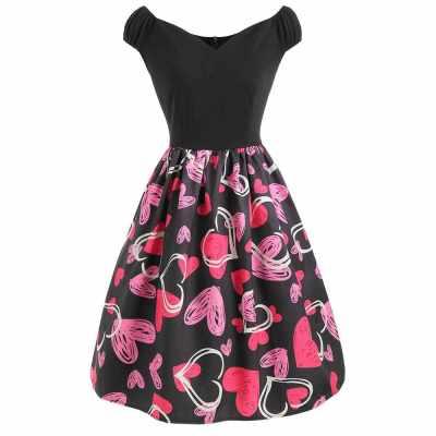 Heart Print V Neck A Line Dress (Multi)