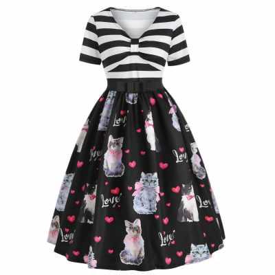 Cat Print A Line Vintage Dress (Multi)