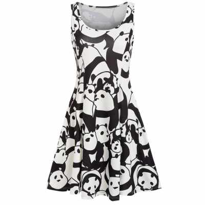 Panda Print A Line Casual Dress (Black)